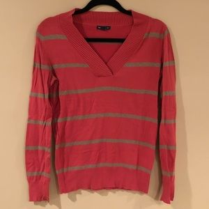 Gap pink sweater with gray stripes